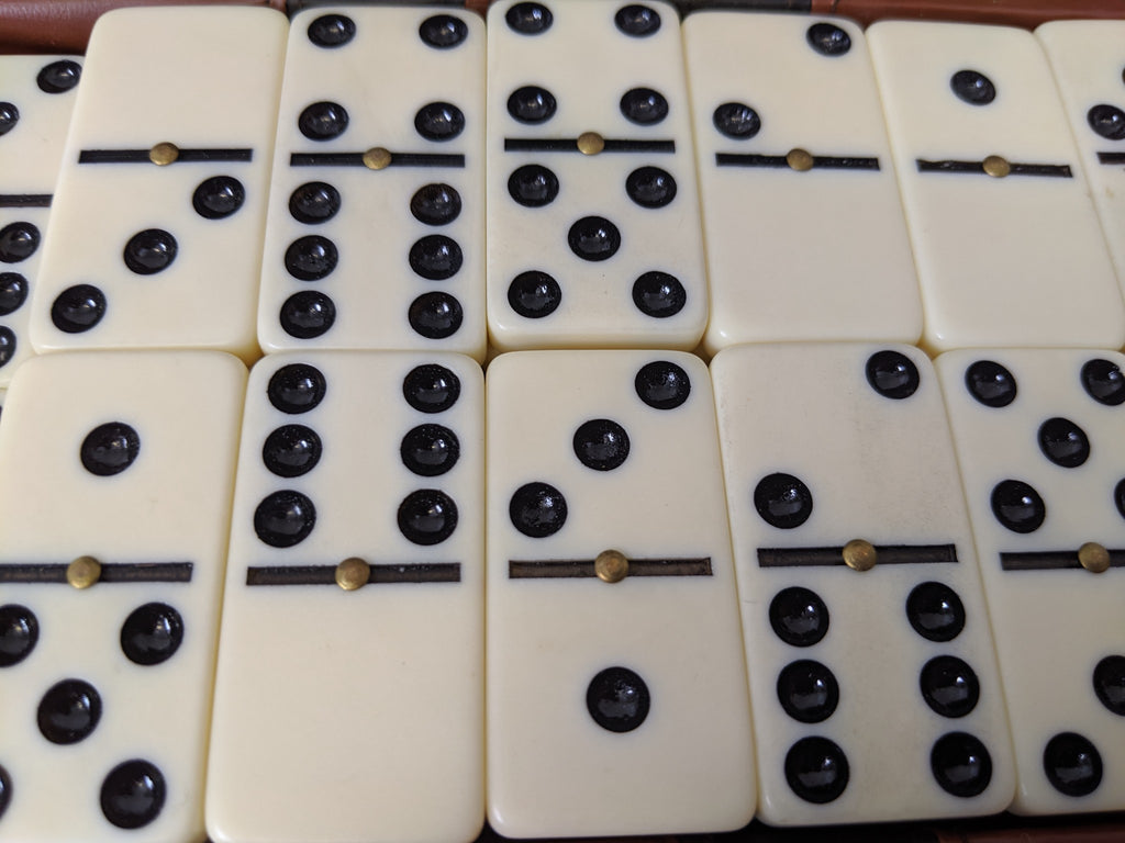 Vintage GAME OF DOMINOES in Case with Brass Rivets, 2 missing - Continental Hobby House