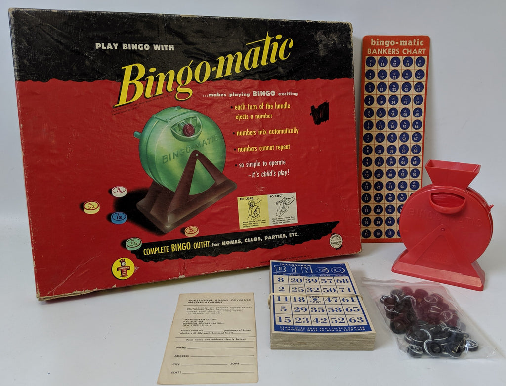 Vintage 1954 BINGO-MATIC Bingo Game Outfit by Transogram, Fun Retro Game! - Continental Hobby House