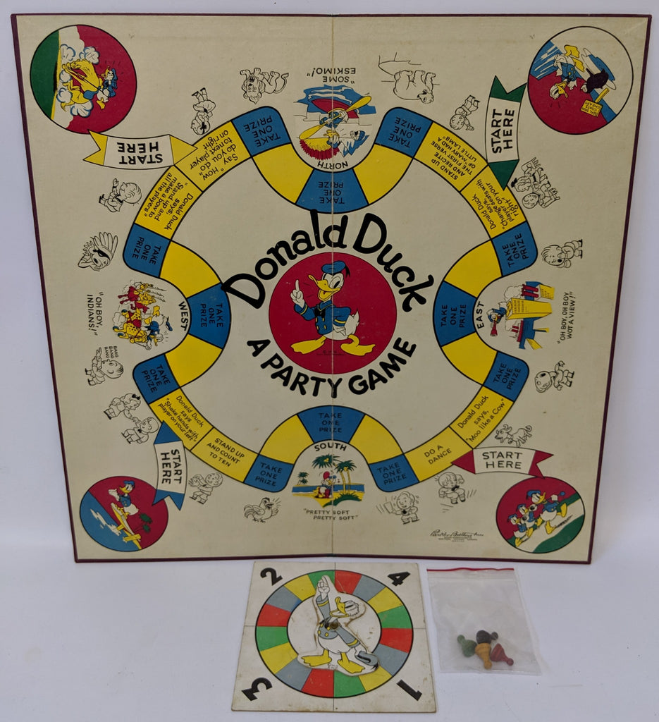 Vintage 1938 Walt Disney DONALD DUCK Party Board Game, Parker Brothers (no box) - Continental Hobby House