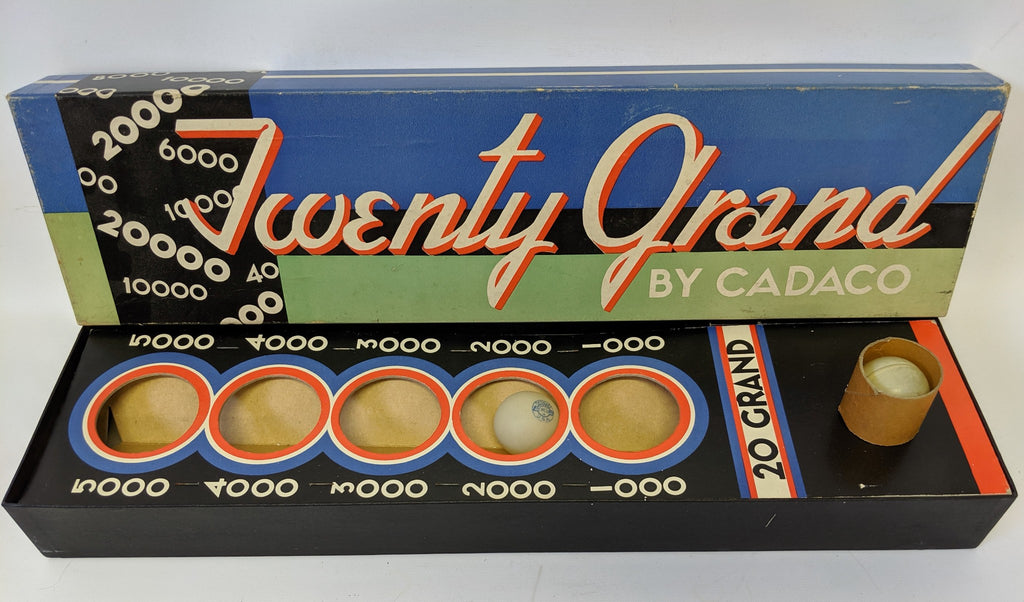 ULTRA RARE! Vintage TWENTY GRAND Skill Ball Game by Cadaco, Celluloid Balls - Continental Hobby House