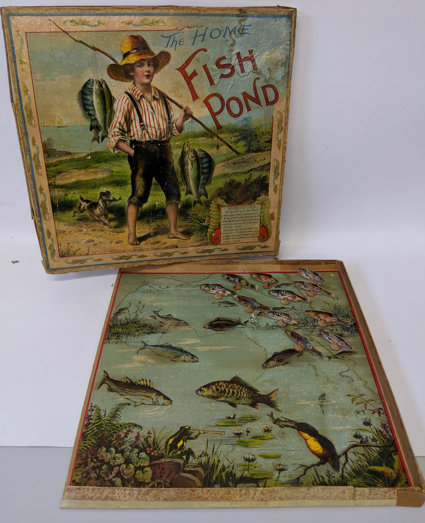 ULTRA RARE Vintage Antique 1904 HOME FISH POND GAME by McLoughlin Brothers - Continental Hobby House