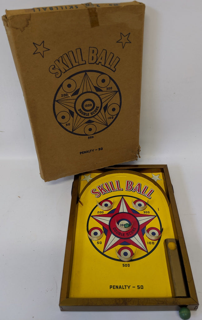 Vintage #200 Tin Lithographed SKILL BALL Game on Stand, fun classic skill game! - Continental Hobby House