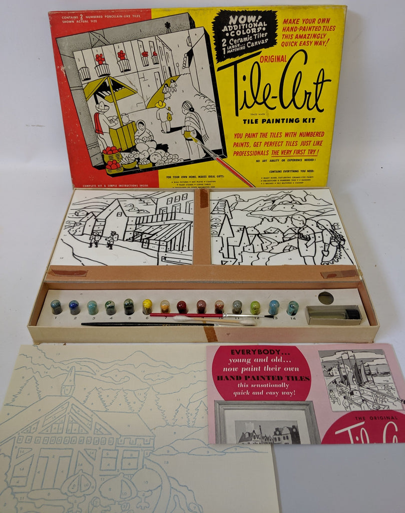 Vintage 1953 Original TILE-ART Tile Painting Kit Set in the original box - Continental Hobby House