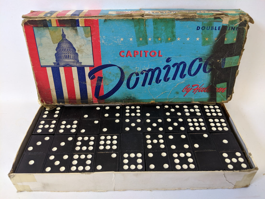 Vintage #930 Capital DOMINOES 55 Double Nine Game Set by Halsam