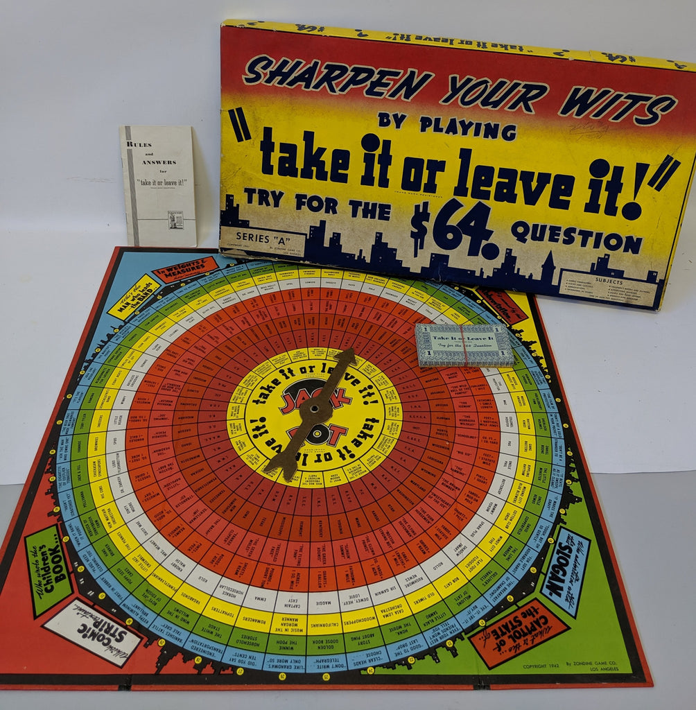 RARE Vintage 1942 TAKE IT OR LEAVE IT Quiz Board Game by Zondine! Fun Game! - Continental Hobby House