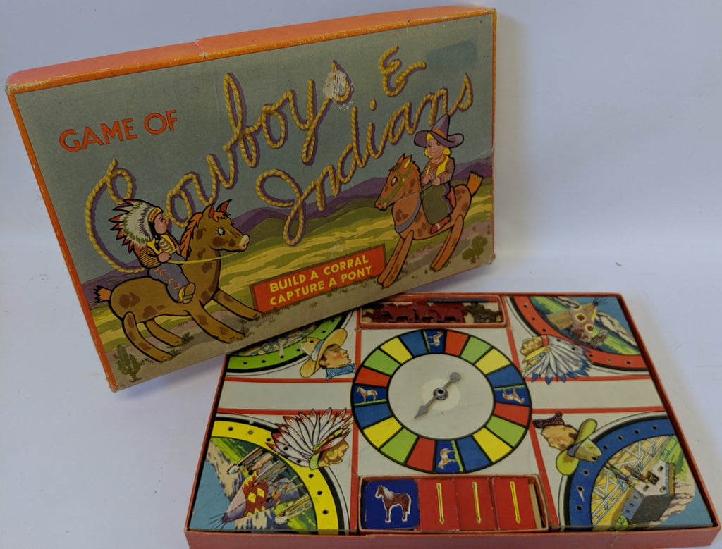 ULTRA RARE Vintage 1950 COWBOYS & INDIANS Board Game by Gabriel & Sons - Continental Hobby House