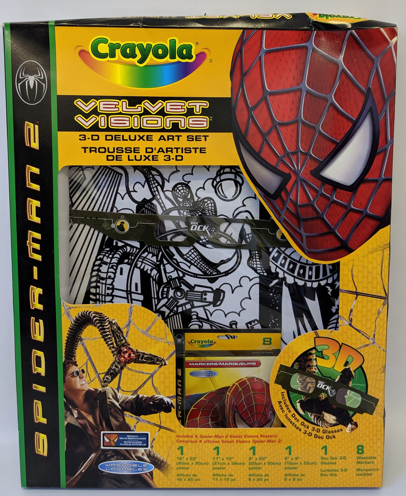 2004 Crayola Spiderman 2 Deluxe Velvet 3-D Art Poster Set, still in packaging! - Continental Hobby House