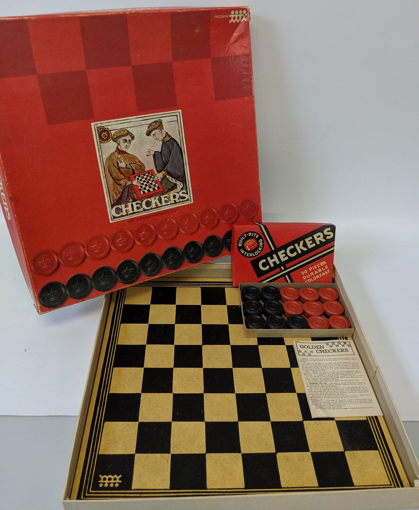 Vintage Pressman Checkers Game with Box of Built-Rite Checkers - Continental Hobby House