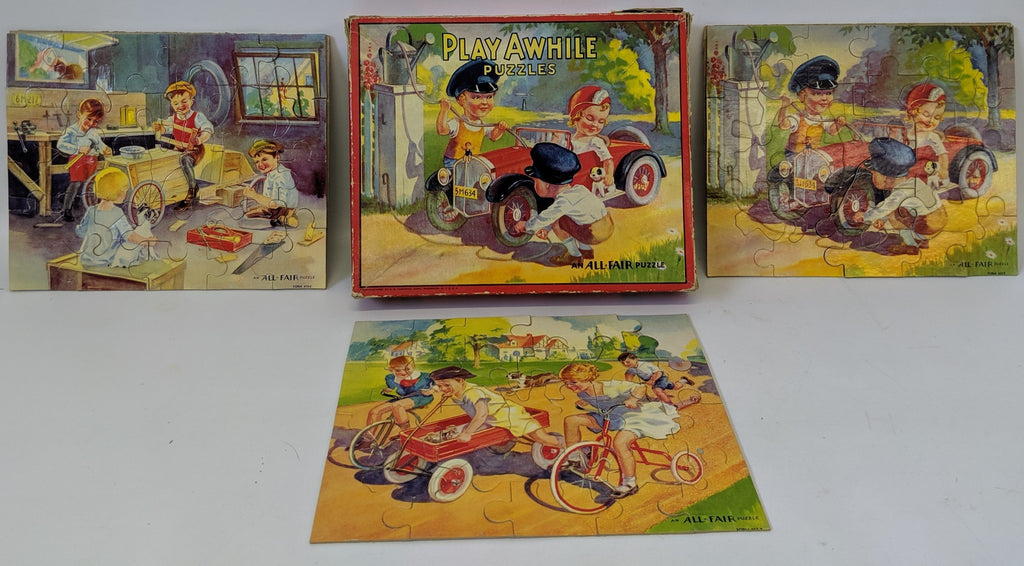 Vintage 1930'S PLAY AWHILE Puzzle Set Series #2 by All-Fair Puzzles, Fairchild - Continental Hobby House