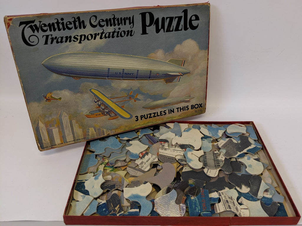 RARE! 20th TWENTIETH CENTURY TRANSPORTATION PUZZLE Set, Zeppelin, Ship, etc. - Continental Hobby House