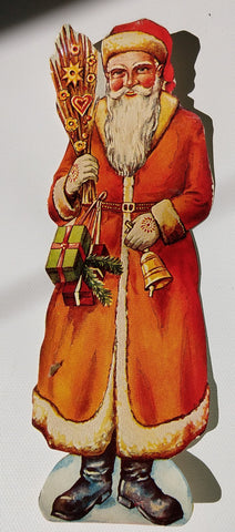 St. Nicholas, Santa Claus Germany paper Santa with decorated broom 7.5""