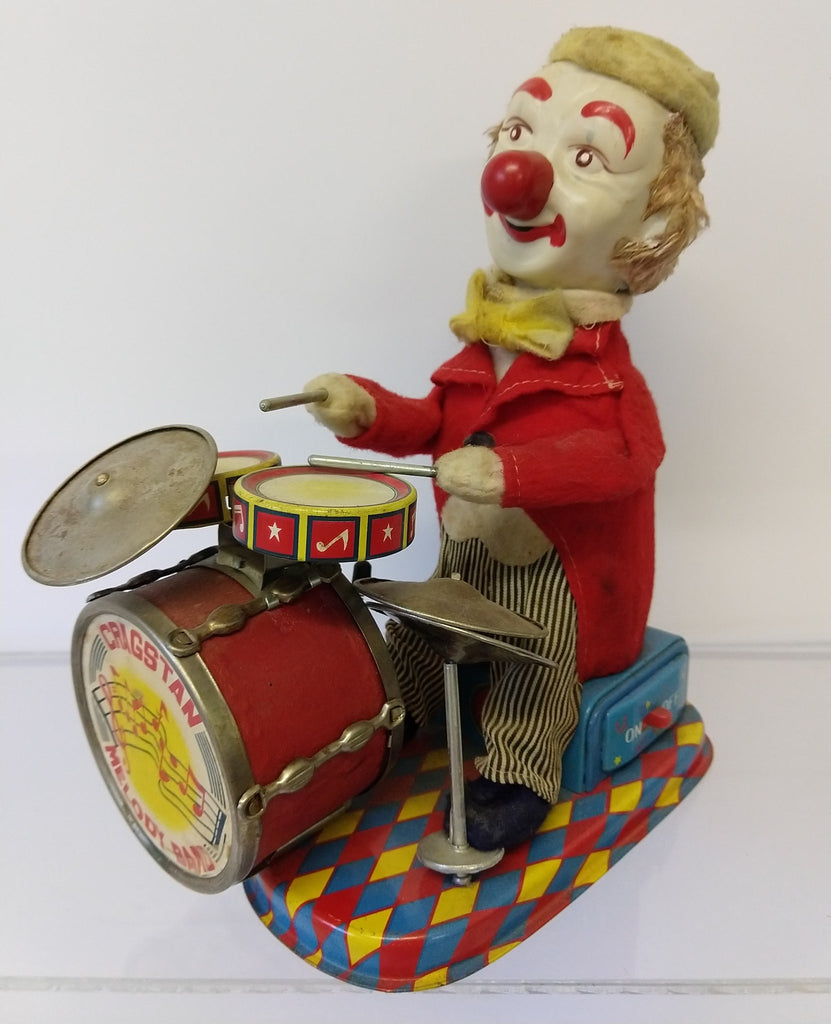 "Vintage Cragstan Battery Operated 1950-60's Clown Drummer 10"" - Continental Hobby House"