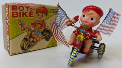 Vintage 1950's (Elvin, Japan) Tin & Celluloid Wind-up Toy BOY ON BIKE w/ Flags