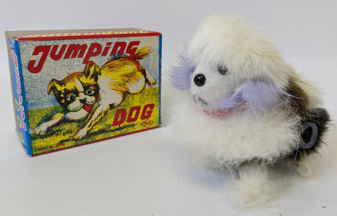 Vintage 1960'S (OKA, Japan) Wind-up Soft Fur Covered JUMPING DOG Toy in Box