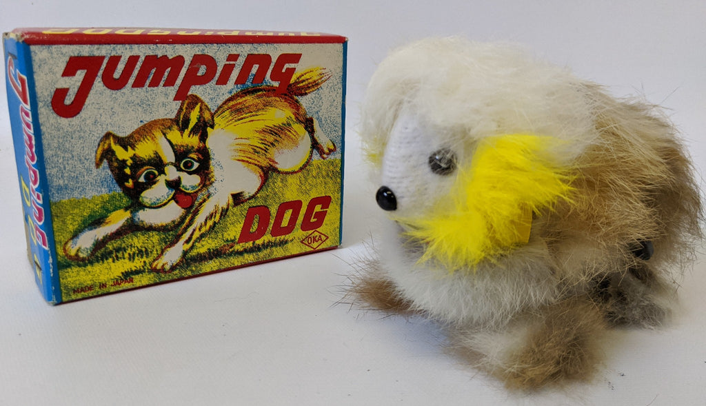 Vintage 1960'S (OKA, Japan) Wind-up Soft Fur Covered JUMPING DOG Toy in Box.