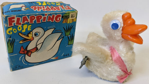 Vintage 1960's Fuji (MM) Japan Wind-up Mohair Covered FLAPPING GOOSE Toy in Box