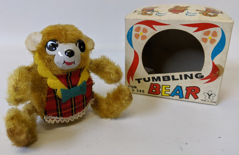 Vintage 1960's Yonezawa (Y) Japan Windup Mohair Covered TUMBLING BEAR Toy in Box