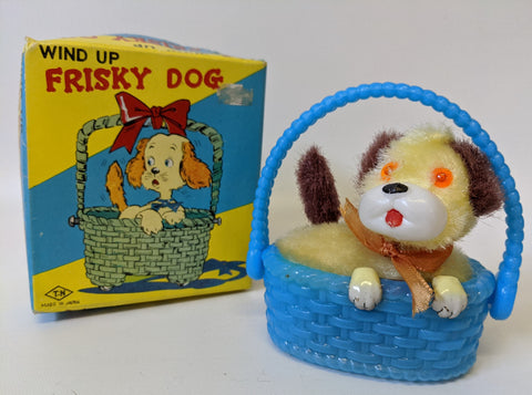 Vintage 1960's Nomura (TN) Japan Wind-up Mohair Covered FRISKY DOG Toy in Box