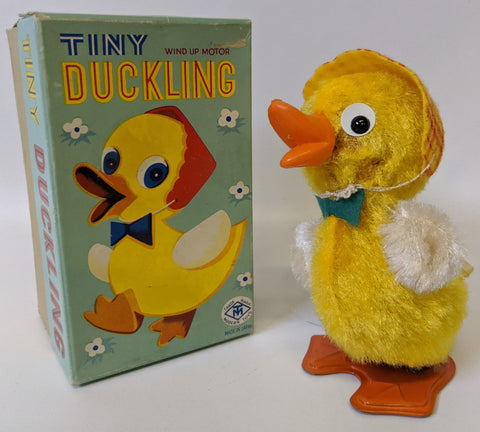 Vintage 1960's Masudaya (MT) Japan Wind-up Mohair Covered TINY DUCKLING Duck Toy