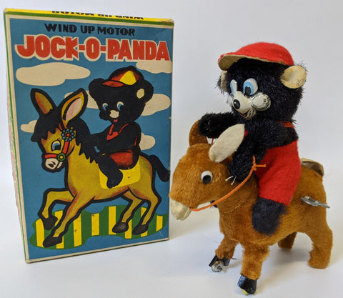 Vintage 1960's (Japan) Wind-up Mohair & Tin JOCK-O-PANDA Toy on Donkey in Box