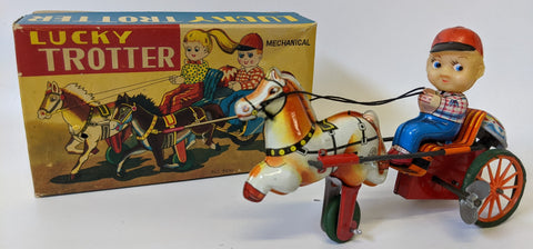 Vintage (Kanto, Japan) Tin Windup LUCKY TROTTER Boy Riding on Horse Carriage Toy