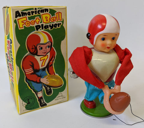 Vintage 1960's Fuji (MM) / Frankonia Wind-up AMERICAN FOOTBALL PLAYER Toy in Box