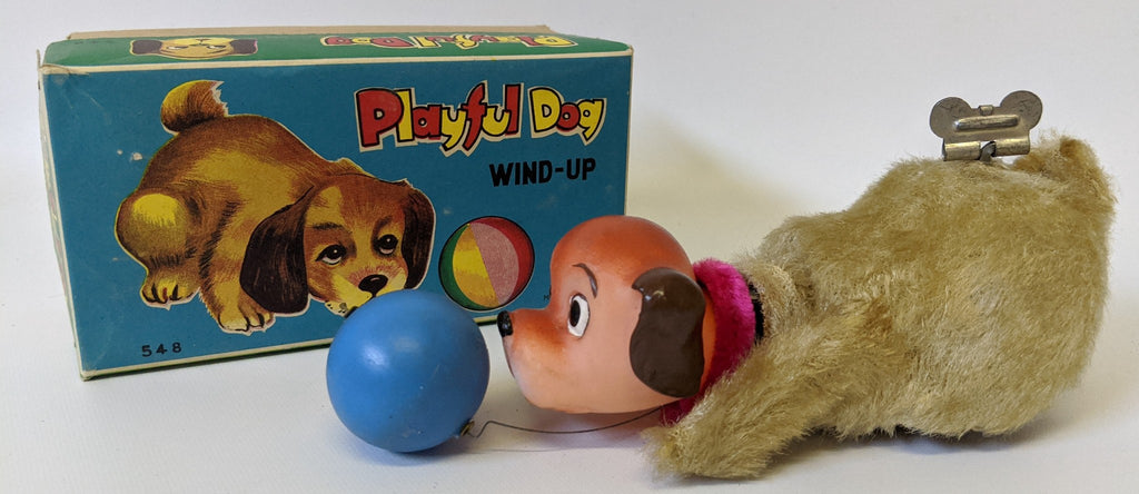 Vintage 1960'S Fuji (MM) Wind-up Mohair PLAYFUL DOG Mechanical Toy #548, in Box