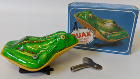 Vintage 1970's (Germany) Tin Lithographed Wind-up QUAK Jumping Frog Toy, in Box