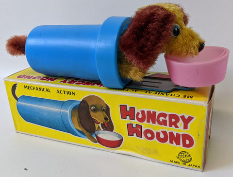 Vintage 1960's (United, Japan) Wind-up Mohair HUNGRY HOUND Dog Eating Toy in Box