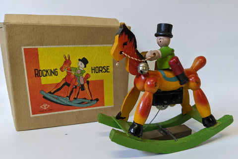 Vintage 1940's (T) Prewar Japan Wooden Wind-up Mechanical ROCKING HORSE, in Box