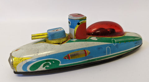 Retro 1990's Tin Lithographed Friction Powered Sparking Space Submarine Ship