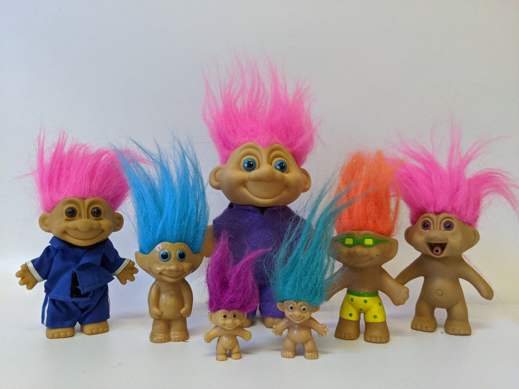 Lot of 7 Various Types of Vintage Troll Dolls - Russ, Tops, TNT, etc.