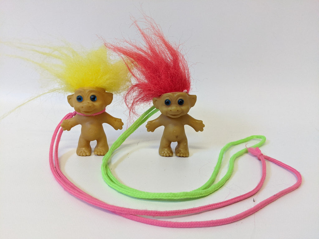 Lot of 2 Vintage TROLL Necklaces on String. Yellow hair, Red Hair, Blue Eyes