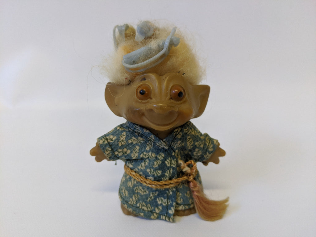 "RARE Vintage 3"" Tall 'Rootie' Wild Painted Eyes Troll with Tab Back"