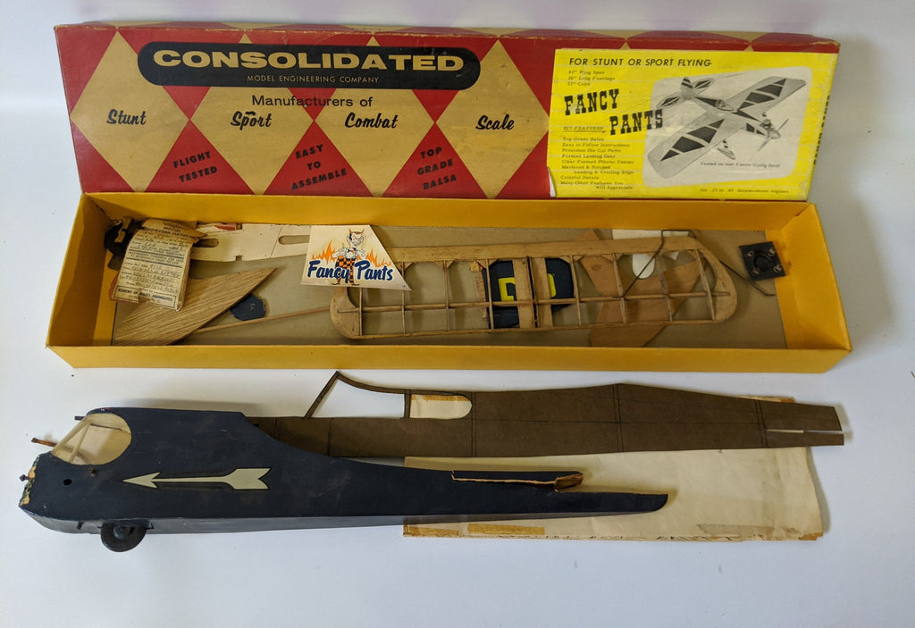 Vintage 1950's CONSOLIDATED 'FANCY PANTS' Wood Airplane Model Kit Parts in Box