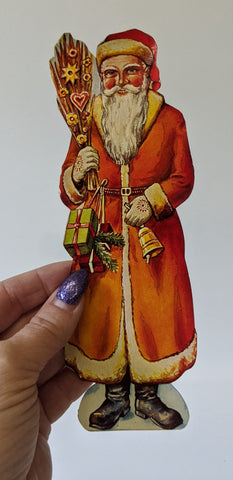 Vintage German SANTA CLAUS Christmas High Gloss Embossed Diecut Scrap Paper