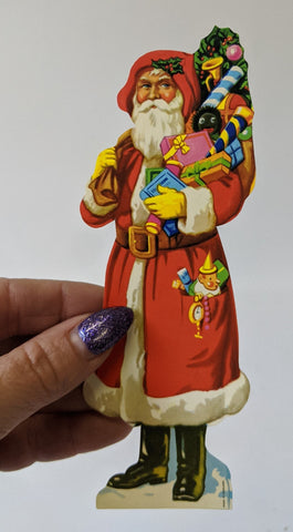 Vintage Antique SANTA CLAUS Christmas High Gloss Diecut Scrap Paper (England)