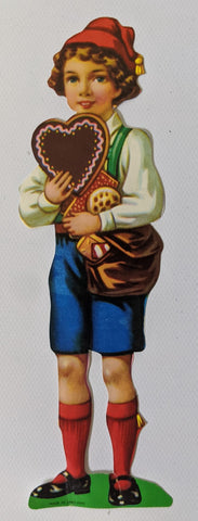 Adorable Vintage Antique Boy Carrying Heart & Sweets High Gloss Diecut Paper