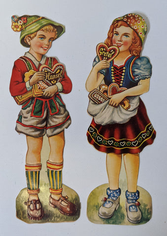 Vintage German HANSEL & GRETEL High Gloss Embossed Diecut Scrap Paper Set