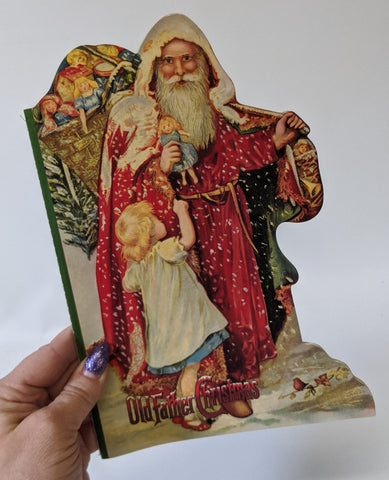 Vintage 1995 OLD FATHER CHRISTMAS Santa Claus 16-Page Story Book by B. Shackman