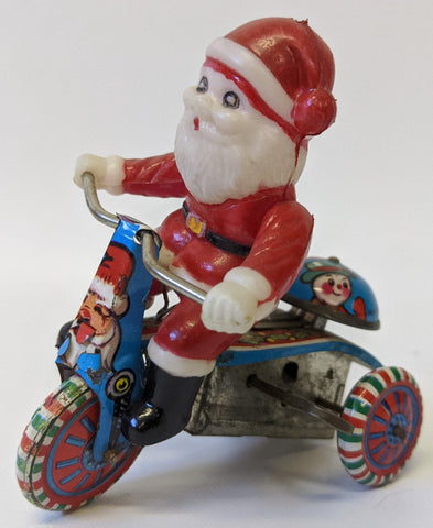 Vintage 1960's (Hong Kong) Tin Litho Trike Tricycle with Plastic Christmas Santa