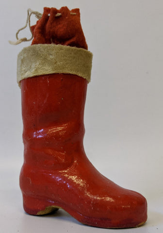 "Vintage 1930's (Germany) Christmas Santa 5-1/2"" Paper Mache Boot CANDY CONTAINER"