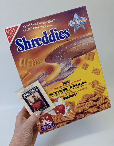 Vintage 1994 STAR TREK Generations Nabisco SHREDDIES Canada Cereal Box & Sticker