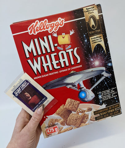 Vintage 1996 STAR TREK Kellogg's MINI-WHEATS Canadian Cereal Box & Sticker