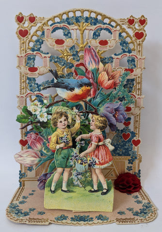 Victorian Antique Vintage Germany Diecut Fold-out VALENTINES Card w/ Boy & Girl