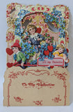 Victorian Antique Vintage Germany Diecut Fold-out Floral VALENTINES DAY Card!