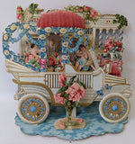 Victorian Antique Vintage Germany Diecut Foldout Car & Cupids VALENTINES Card