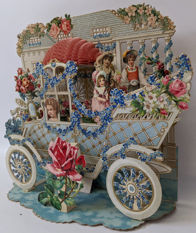 Victorian Antique Vintage Germany Diecut Foldout Car & House VALENTINES Card