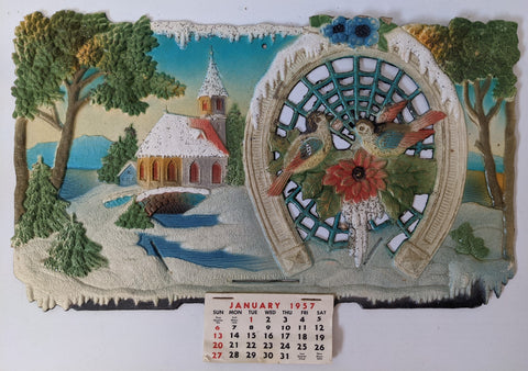 Vintage 1957 Germany Embossed Diecut Calendar w/ Country Winter Scene & Birds