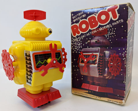 Vintage 1970's Battery Operated GO-FLOAT ACTION ROBOT Toy in the Original Box